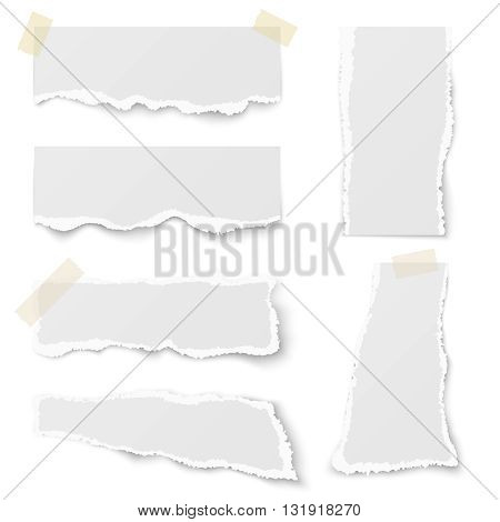 Torn note paper with adhesive tape vector set. Adhesive note paper and page adhesive for message reminder illustration