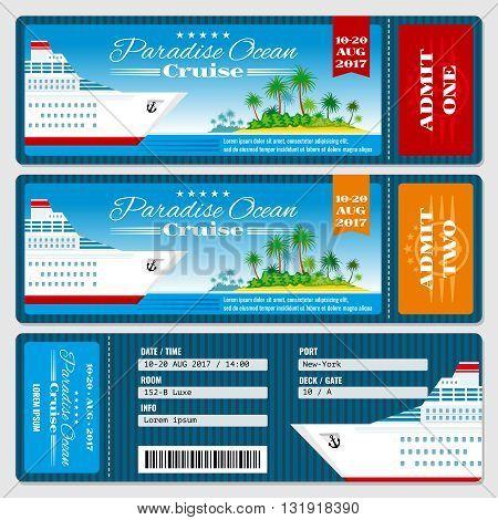 Cruise ship boarding pass ticket. Honeymoon wedding cruise invitation vector template. Travel ticket to sea or ocean cruise ship
