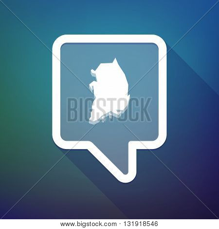 Long Shadow Tooltip Icon On A Gradient Background  With  The Map Of South Korea