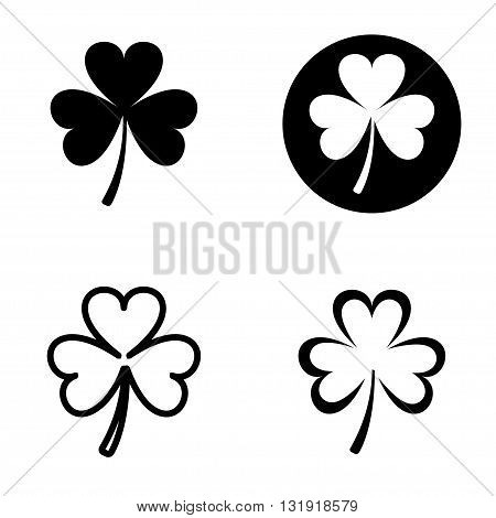 Vector green clovers icons set on white bacground