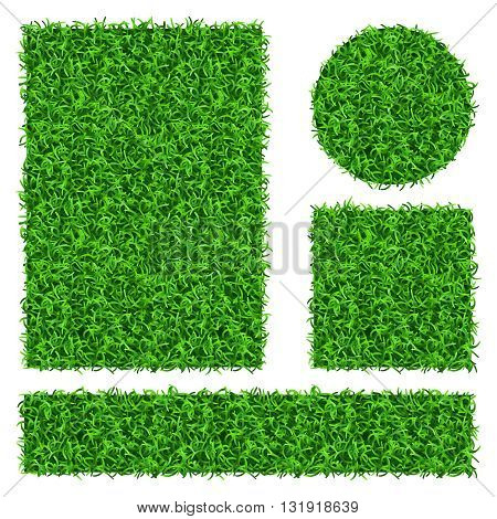 Green grass vector banners set. Flora decoration grass plant and nature floral grass illustration