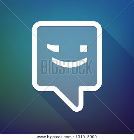 Long Shadow Tooltip Icon On A Gradient Background  With  A Wink Text Face Emoticon