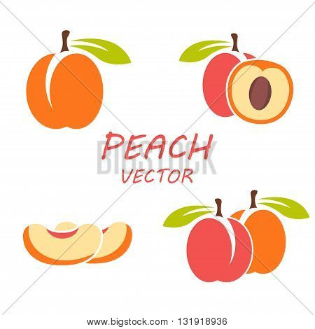 Vector flat peach icons set on white backgrounds