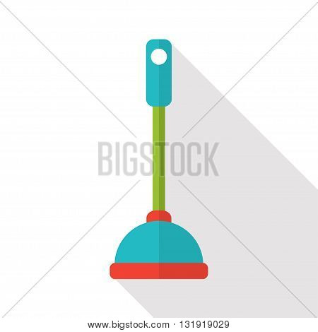 Vector flat toilet plunger icon on white background