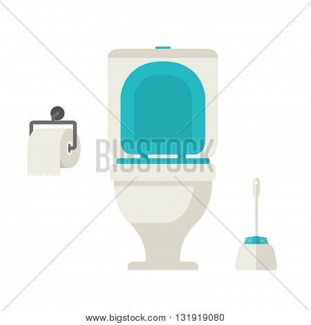 Vector flat toilet toilet paper toilet brush set on white background