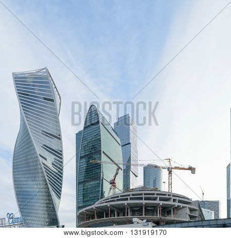 Moscow, Russia - March 29, 2016: Construction of the Moscow International Business Center