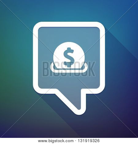 Long Shadow Tooltip Icon On A Gradient Background  With  A Dollar Coin Entering In A Moneybox