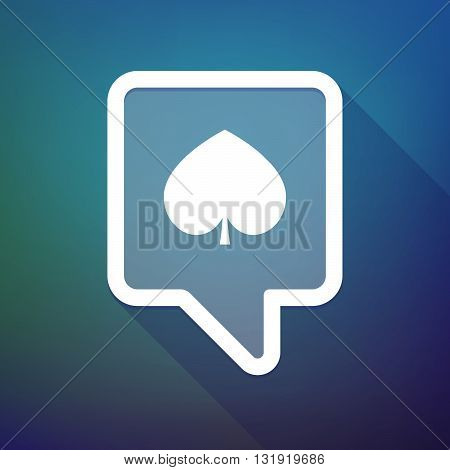 Long Shadow Tooltip Icon On A Gradient Background  With  The  Spade  Poker Playing Card Sign