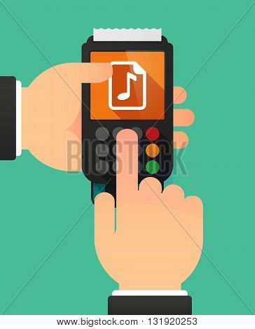 Person Hands Using A Dataphone With  A Music Score Icon
