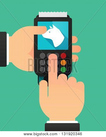 Person Hands Using A Dataphone With  A Dog Head