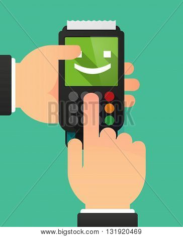 Person Hands Using A Dataphone With  A Wink Text Face Emoticon