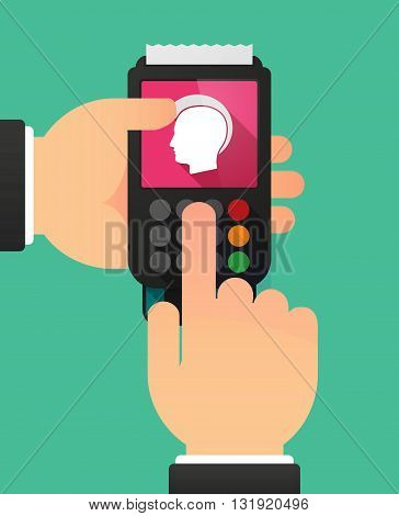 Person Hands Using A Dataphone With  A Male Punk Head Silhouette