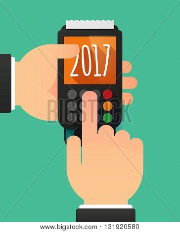 Person Hands Using A Dataphone With  A 2017 Year  Number Icon