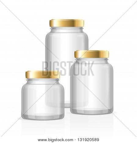 Glass Jars Bottles Empty Transparent. Small, Medium and Large. Vector illustration