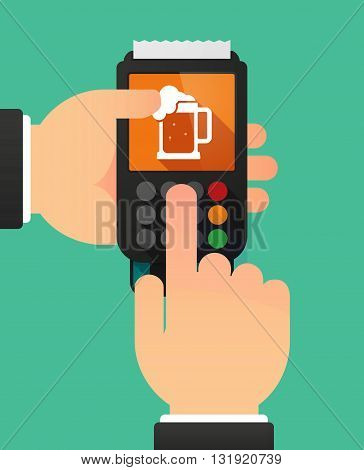 Person Hands Using A Dataphone With  A Beer Jar Icon