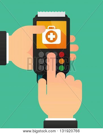 Person Hands Using A Dataphone With  A First Aid Kit Icon