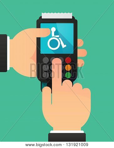 Person Hands Using A Dataphone With  A Human Figure In A Wheelchair Icon