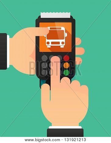 Person Hands Using A Dataphone With  A Bus Icon