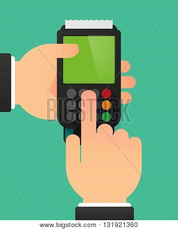 Person Hands Using A Dataphone