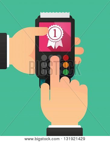 Person Hands Using A Dataphone With  A Ribbon Award