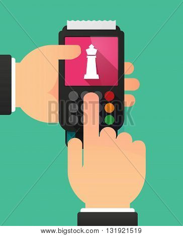 Person Hands Using A Dataphone With A  King   Chess Figure