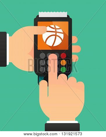 Person Hands Using A Dataphone With  A Basketball Ball