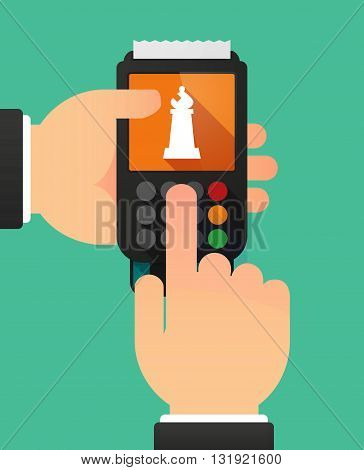 Person Hands Using A Dataphone With A Bishop    Chess Figure