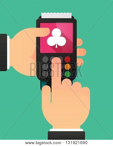Person Hands Using A Dataphone With  The  Club  Poker Playing Card Sign