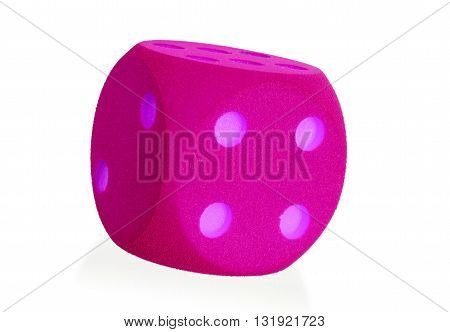 Large Pink Foam Die Isolated - 4