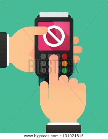 Person Hands Using A Dataphone With  A Forbidden Sign