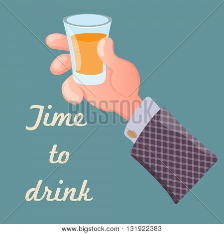 Hand holding a glass of alcoholic drink.Cartoon style.Vector illustration