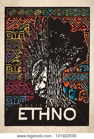 Vector Ethno music poster. Engraved bright poster of Ethno music