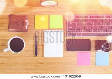 modern stylish work place, view from above