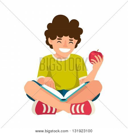 Boy reading a book. The concept of school education. Vector illustration on white background.