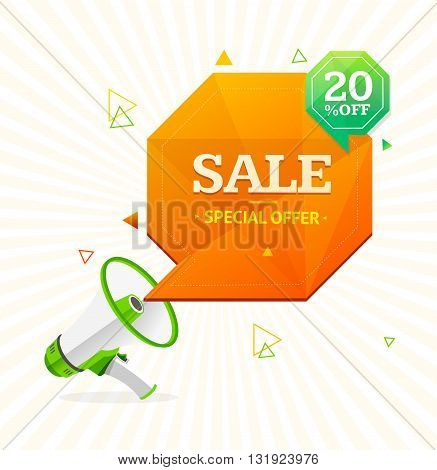 Big Sale Label. Megaphone Symbol Advertising. Vector illustration