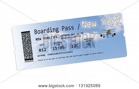 Airline boarding pass tickets to New York isolated on white - The contents of the image are totally invented. Note for the Ispector: The contents of the image are totally invented. The writings are not subject to copyright anyway the codes the QR code are
