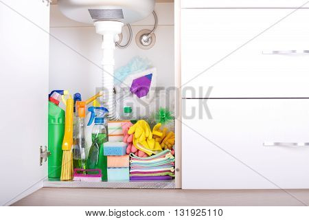 Cleaning Supplies In Kitchen Cabinet