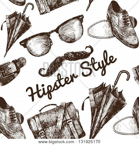 Vector Hipster Style Set #2. Hipster accessories in retro sepia style on white background. Seamless pattern.