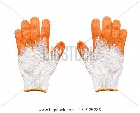 Yellow rubber protective gloves on a white background