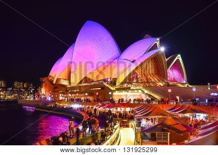 Sydney, Australia - May 29, 2016, Sydney Opera House Illuminated With Colourful Light Design Imagery