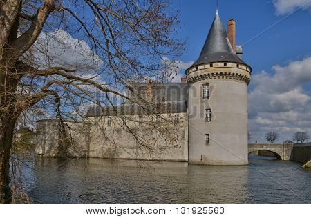 Sully sur Loire France - april 4 2015 : the medieval castle in spring