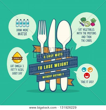 tips for losing weight concept vector illustration
