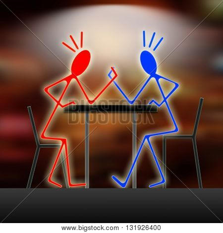 Two people sitting at a table are struggling. Arm wrestling concept image
