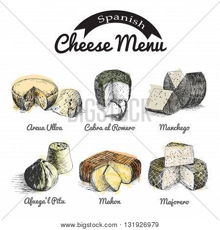 Vector illustrated Set #2 of Spanish Cheese Menu. Illustrative sorts of cheese from Spain