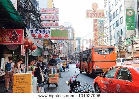 BANGKOK, THAILAND - APRIL24, 2016 : urban lifestyle on Yaowarat Road,chinatown of Bangkok, Yaowarat road is the center of China town in Bangkok, Thailand.