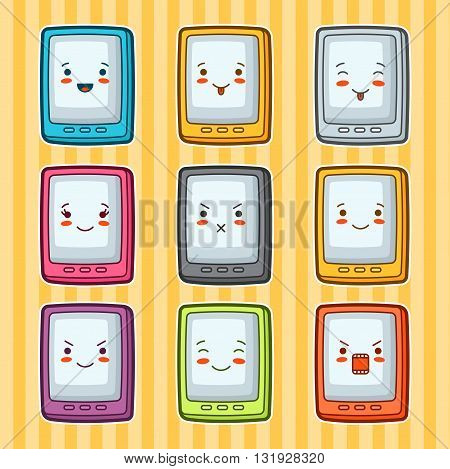 Kawaii doodle tablets set. Illustration of gadgets with various facial expression.