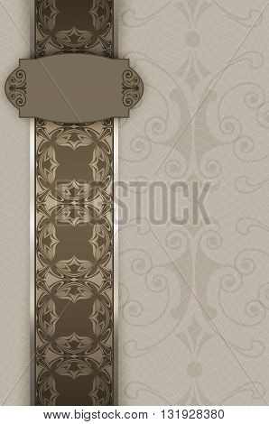 Vintage background with decorative ornamental border and patterns.