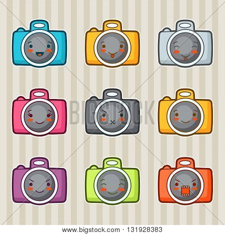 Kawaii doodle cameras set. Illustration of gadgets with various facial expression.