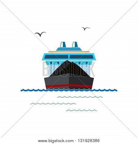 Front View of the Dry Cargo Ship Isolated on White, Industrial Marine Vessel is Transporting Coal and Ore, International Freight Transportation, Vector Illustration