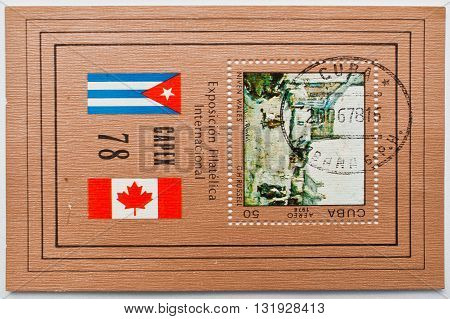 Uzhgorod, Ukraine - Circa May, 2016: Postage Stamps Printed In Cuba Correos Shows Canadian Internati